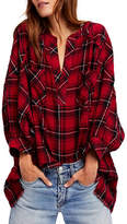 Free People Oversized Plaid Tunic Top