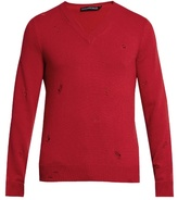 Alexander Mcqueen Distressed V-neck Sweater