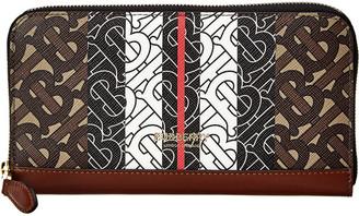Burberry Monogram Stripe E-Canvas & Leather Ziparound Wallet