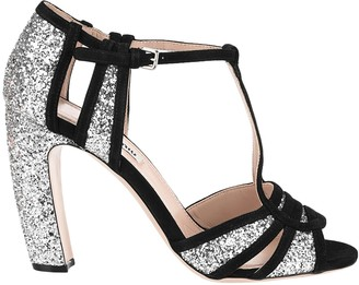Miu Miu Glitter Fabric Sandals