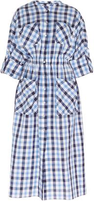 Martin Grant Checked Cotton-Linen Midi Shirt Dress
