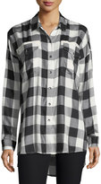 Splendid Buffalo-Check Button-Down Boyfriend Shirt