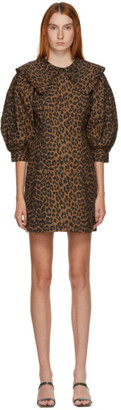 Ganni Brown and Black Poplin Leopard Dress