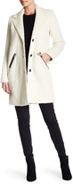 Andrew Marc Genuine Leather Trim Wool Blend Charlotte Coat