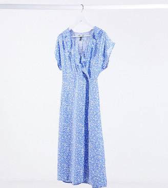 New Look Petite midi wrap dress in blue floral pattern