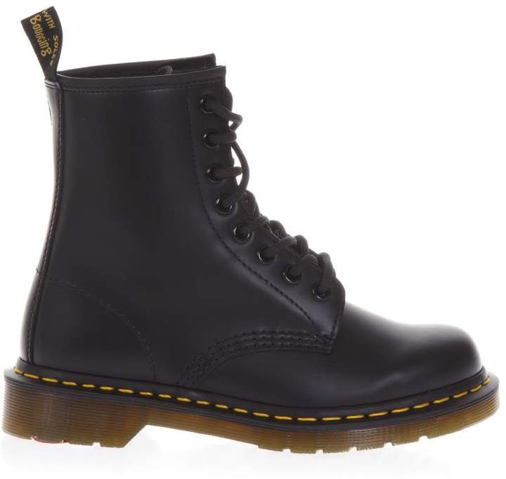 Dr. Martens Black Leather Yellow Stitching Boots