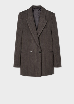 Women's Grey Pinstripe Wool-Cotton Relaxed Double-Breasted Blazer