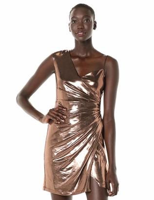 BCBGMAXAZRIA Azria Women's Metallic One Shoulder Sheath Dress