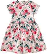 Cath Kidston Small Antique Rose Girls Pleat Jacquard Dress