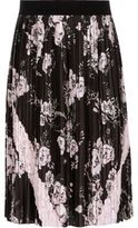 River Island Girls Black pleated floral midi skirt