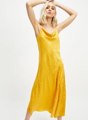 Miss Selfridge Yellow Jacquard Slip Dress