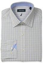 Nautica Men's Check Shirt with Spread Collar in Khaki