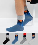 Jack and Jones Socks 4 Pack With Landscape Print