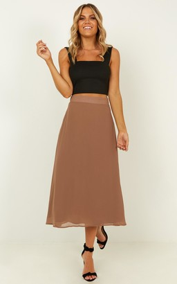 Showpo Forget You Not Skirt in mocha - 10 (M) Midi Skirts