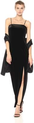 Alex Evenings Women's Long Column Dress with Foldover Satin Neckline and Shawl