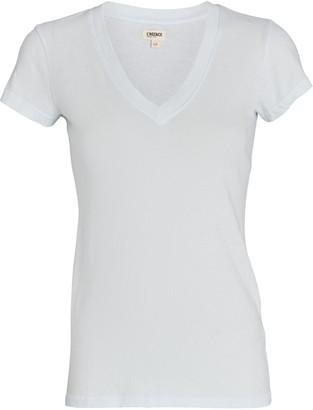L'Agence Becca V-Neck Cotton T-Shirt
