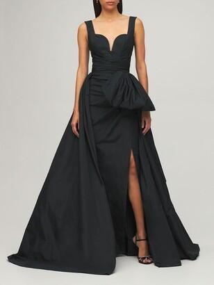 ZUHAIR MURAD Taffeta Sleeveless Dress W/ Side Slit