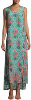 Tolani Kendall Sleeveless Floral-Print Maxi Dress, Sea Green