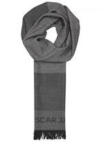 Oscar Jacobson Grey Wool Jacquard Scarf