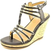 Dolce Vita Tenley Womens US Size 9 Black Faux Leather Wedge Sandals Shoes