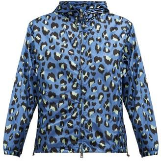 Moncler Alexandrite Leopard-print Technical Jacket - Womens - Blue Print