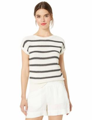 Lucky Brand Women's Stripe Short Sleeve Pullover Sweater