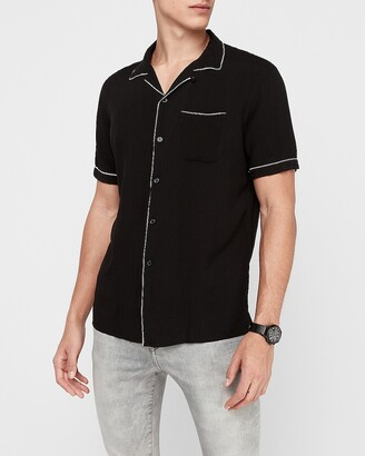 Express Slim Piped Rayon Shirt