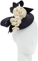 Rachel Trevor-morgan Rachel Trevor Morgan Straw Pillbox Hat w/ Camellias, Navy