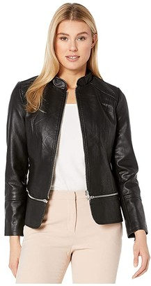 Liverpool Zip Off Moto Jacket in Vegan Leather (Black) Women's Clothing