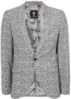 Topman NOOSE & MONKEY Black and White Textured Floral Blazer