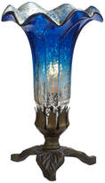 "River Of Goods 8.25"" Hand Blown Mercury Glass Lily Lamp w/ Leaf Base, Dark Blue/Silve"