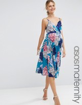Asos Pleated Midi Dress in Blue Floral
