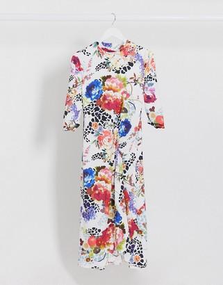 Vila high neck dress with hi low hem in floral swirl