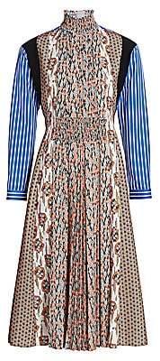 Prada Women's Mixed Print Pleated Front Midi Dress