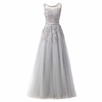 FYMNSI Women Wedding Bridesmaid Dress Lace Floral Applique Mesh Tulle Tutu Floor Length Sleeveless A-line Long Maxi Gown for Evening Cocktail Pageant Homecoming Ball Prom Formal Occasion Grey 8