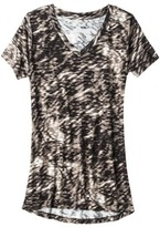 Mb Mossimo® Women's Drapey Tunic Tee - Black Print