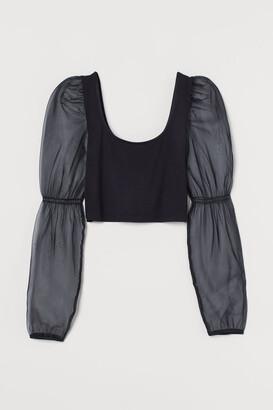 H&M Short Puff-sleeved Top - Black