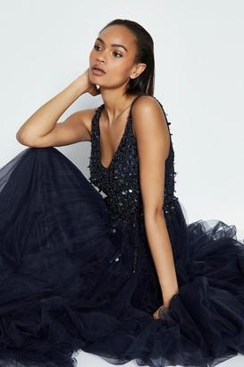 Coast Sequin Bodice Tulle Skirt Maxi Dress