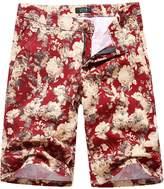 SSLR Men's Elastic Floral Flat Front Short
