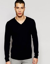 Selected Knitted V-Neck Neck Sweater In Merino Wool