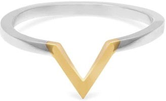 Myia Bonner Two-Tone Triangle V Ring 9k Yellow Gold & Silver