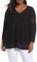 Sejour Plus Size Women's Sheer Inset Linen Blend Tunic Top