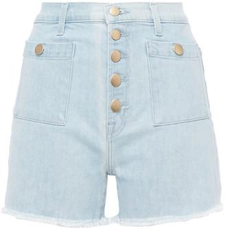 J Brand Joan Button-detailed Frayed Denim Shorts