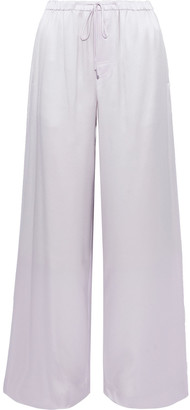 Vince Gathered Silk-satin Wide-leg Pants