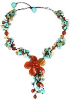 "Novica Orange Agate and Chalcedony Y-necklace with Loop-Button Closure,17"", 'Summer Flower'"