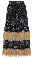 ALEXACHUNG Polka-dot and lace midi skirt