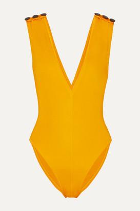 Oye Swimwear Gaia Button-embellished Swimsuit - Yellow
