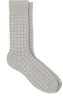 Barneys New York MEN'S PIN-DOT COTTON-BLEND MID-CALF SOCKS