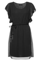 Quiz Black Chiffon Frill Sleeve Belted Tunic Dress