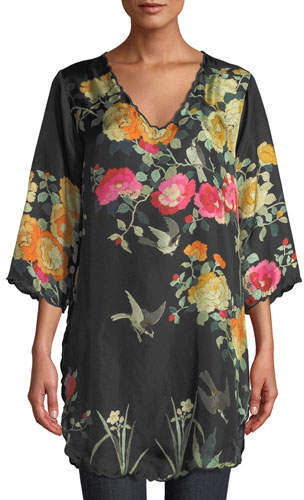 Johnny Was Plus Size Charlotte Rose-Print Silk Blouse